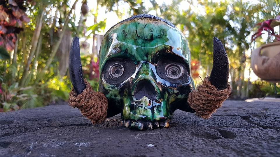 Mixed Media Trophy Skull by Gecko of South Sea Arts