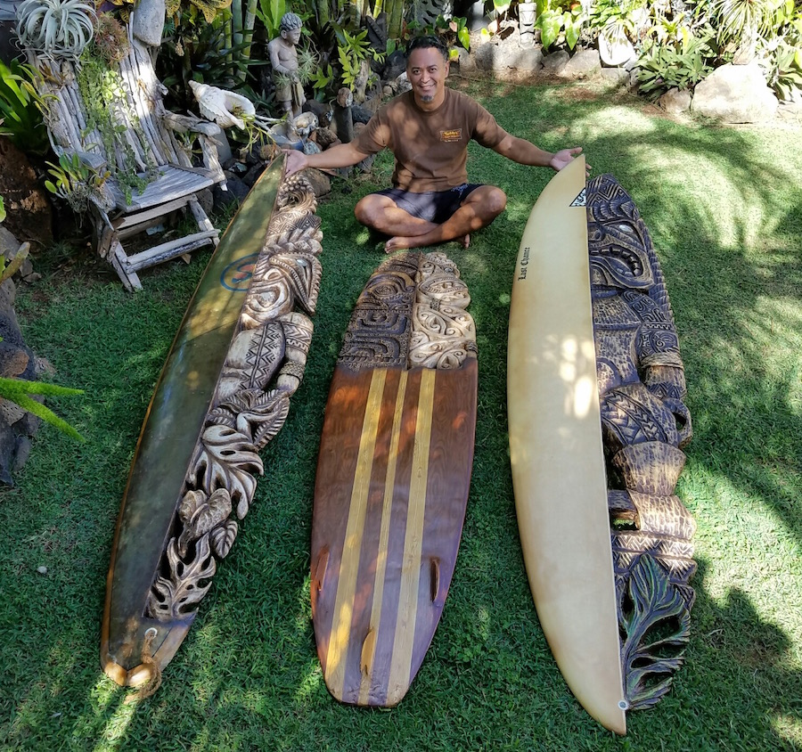 South Sea Arts Hawaiian Surfboard Carving