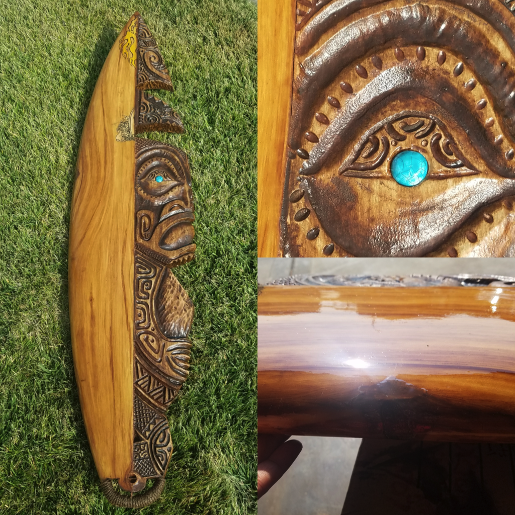 Repurposed Surfboard Tiki Carving